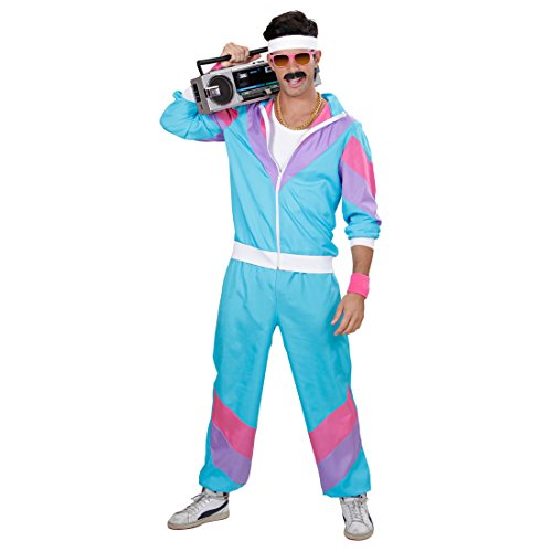Amakando Tenue de Sport Jogging Training Années 80 Déguisement M 48/50 Veste de Training et Pantalon Soirée Bad Taste Party New Kids Costume