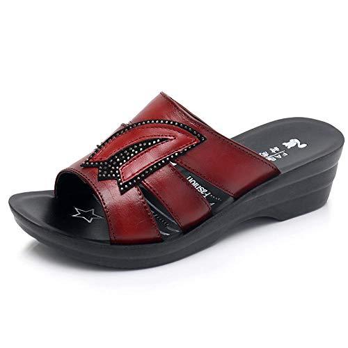 KaO0YaN Sandalias para Mujer, Zapatillas de Verano, Sandalias ortopédicas cómodas con Plataforma y Punta Abierta, Zapatos de Playa, Piel de Vaca para Mujer, cuñas Planas de Verano, Zapatos para Madre