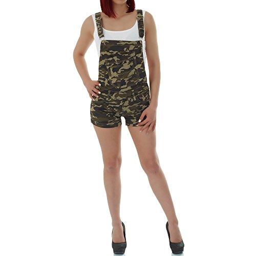 Malucas Damen Jeans Latzhose Camouflage Shorts mit Hohem Bund und Stretch 00312, Größe:34, Farbe :Mehrfarbig