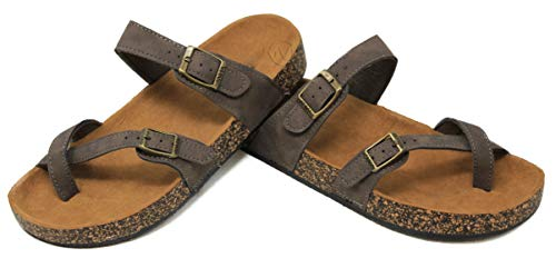 MVE Shoes Women's Strappy Buckle Cork Sole Flip-Flop-Sandals, Brown Size 8