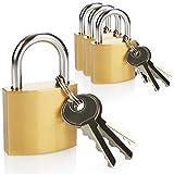 com-four® Candado de Metal 4X - candado con 3 Llaves Cada uno, Ideal como Cerradura de Maleta y Equipaje, Cerradura de Seguridad con grillete de Metal endurecido