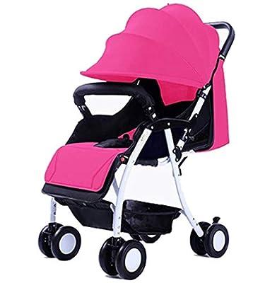Baby Stroller Carrito de bebé portátil Ultraligero Puede Sentarse/reclinable Coche Paraguas Plegable Simple (Color : Pink)