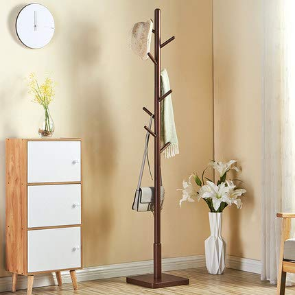 XMZFQ Sturdy Wooden Coat Rack Stand, 8 Hook,Square Base,Entryway Hall Tree Coat Tree for Hat,Clothes,Purse,Scarves,Handbags,Umbrella,Brown