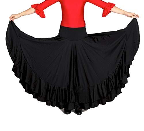 ANUKA Falda Profesional de Mujer para Danza Flamenca. Mucho Vuelo con 7 Metros de Tela. Peso Ideal para los giros. Fabricada en España (Negro/Negro, M)