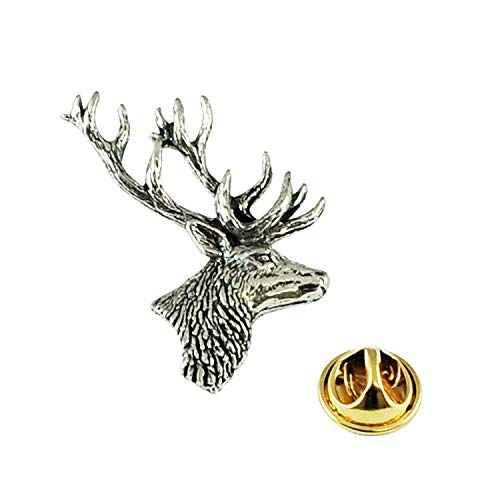 Stag's Head English Pewter Lapel Pin Badge