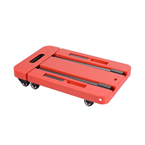 Folding Hand Truck, 2 in 1 Lightweight Folding Shopping Cart,Folding Portable Luggage Trolley Household Load 200KG Flatbed Six-Wheel Cart Small Trailer,Red