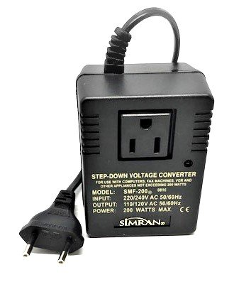 Step Down Voltage Converter Simran SMF-200 Deluxe 200 Watts for International Travel to AC 220V/240V Countries, Ideal for Laptops, Cameras, Phone etc