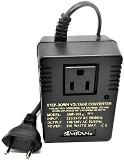 Simran SMF-200 Deluxe 200 Watts Step Down Voltage Converter for International Travel to AC 220V/240V Countries, Ideal for Laptops, Cameras, iPhones, BlackBerry, iPods etc