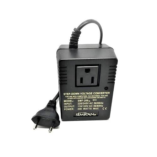 Simran SMF-200 Deluxe 200 Watts Step Down Voltage Converter for International Travel to AC