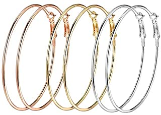 Yellow Chimes Women's Combo of 3 Pairs Gold-Plated Big Hoop Earrings Silver Gold Rose Gold Stainless Steel Earrings