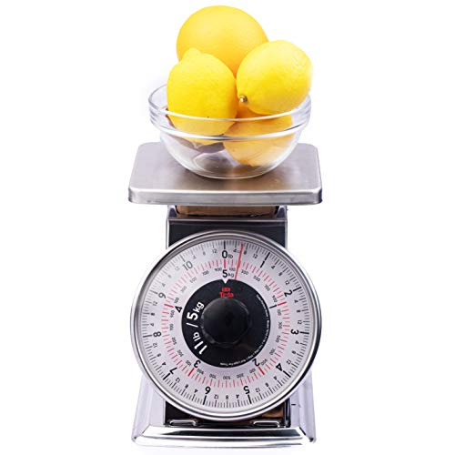 Tada Precise Portions Analog Food Scale - Stainless Steel, Removable Bowl, Tare Function, Retro Style, Kitchen Friendly (32 Ounces, Flat Top)