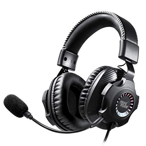 REDSTORM USB Headset für PS4/ PS5/ PC, Gaming Headset Kopfhörer mit Abnehmbares Noise Cancelling Mikrofon, Virtual 7.1 Surround Sound, RGB LED Licht