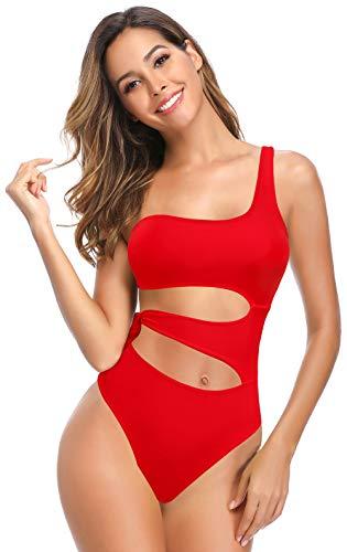 SHEKINI Traje de baño Asimétrico de una Pieza Mujer Bikini sin Espalda de Playa Elegante Color Sólido Ajustable Tiesup Cutout Triángulo Trajes de Baño Bikinis