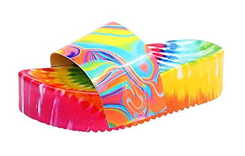 HYISHION Women's Cushion Scout Sandal, Casual Platform Sandals Open Toe Backless Shoes,Orange,EU39