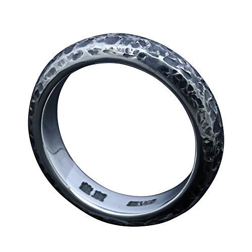 [龍頭] シルバー 950 甲丸 籠目 鎚目 指輪 幅 5mm メンズ 22号