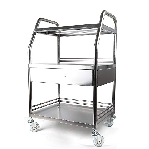 Laboratory 3-Layer Cart with One Drawer Stainless Steel Mobile Equipment Lab Trolley with Lockable Wheels
