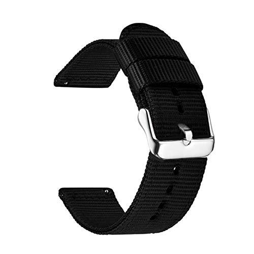 LBWNB Correa de reloj de nailon de 22 mm, 20 mm, 22 mm, liberación rápida para Samsung Galaxy Gear S3 S2, 18 mm, 20 mm, para Amazfit Bip (color de la correa: negro, ancho de la correa: 22 mm)