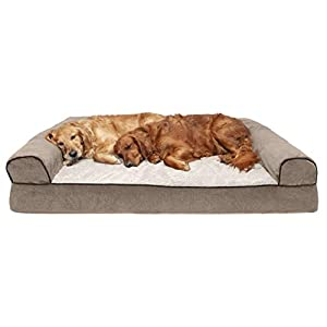 Furhaven Pet Dog Bed – Orthopedic Faux Fleece and Chenille Soft Woven Traditional Sofa-Style Living Room Couch Pet Bed with Removable Cover for Dogs and Cats, Cream, Jumbo Plus