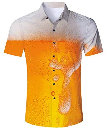 RAISEVERN Camicia Hawaiana con Birra da Uomo 3D Schiuma Gialla Stampata Estate Fresca Tropicale abbottonata Top da Spiaggia T-Shirt Aloha da Vacanza Manica Corta Regular Slim Fit L.