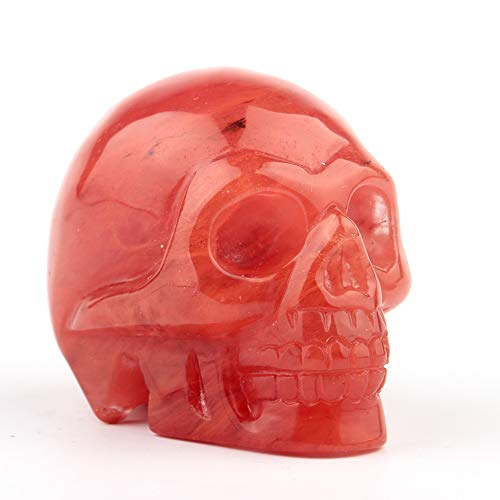 2.0inch Carved Skull Crystal Reiki Healing Statue Collectible Figurine Charka Stone (Cherry Quartz)