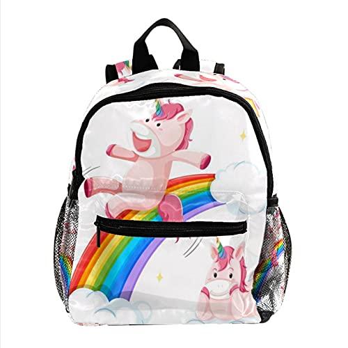Unicornio Rosa Mochila Ligera para niños Mochila Escolar para niños pequeños Mochila Duradera para Libros Casuales para niñas y niños 25.4x10x30cm