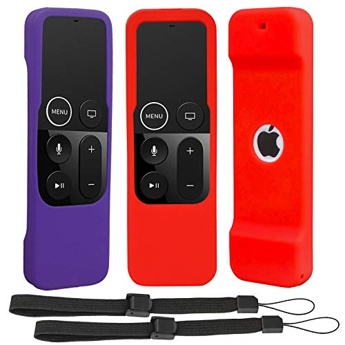 [2 Pack] Silicone Slim Case Compatible with Apple TV Siri Remote 4K / 4th Generation - Pinow (Anti Slip) (Shock Absorption) Remote Cover Skin Suitable for Apple TV Siri Remote 4K / 4th (Red+Purple)