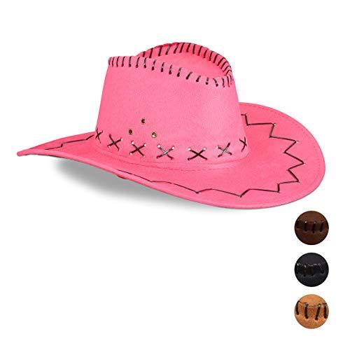 Relaxdays 10024992_52 Cowboyhut Fasching, Westernhut, für Erwachsene, im Westernstyle, Karneval, mit Kopfband, Faschingshut, pink, Unisex