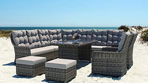 ARTELIA Emma Dining XL Polyrattan Sitzgruppe Lounge Esstisch-Set - Premium Rattan Gartenmöbel-Set für Garten, Wintergarten und Balkon, Balkonmöbel, Terrassenmöbel, Ocean Line Grau
