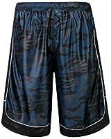 PTSports Men's 12'' Camo Basketball Shorts with Pockets Long Gym Athletic Shorts Running Drawstring Quick-Dry (Navy/2, 2XL)