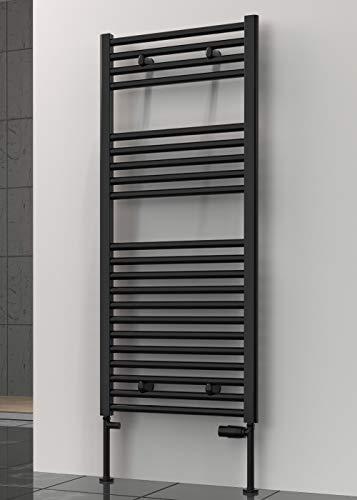 Reina Premium - Toallero de radiador con calefacción central, color negro