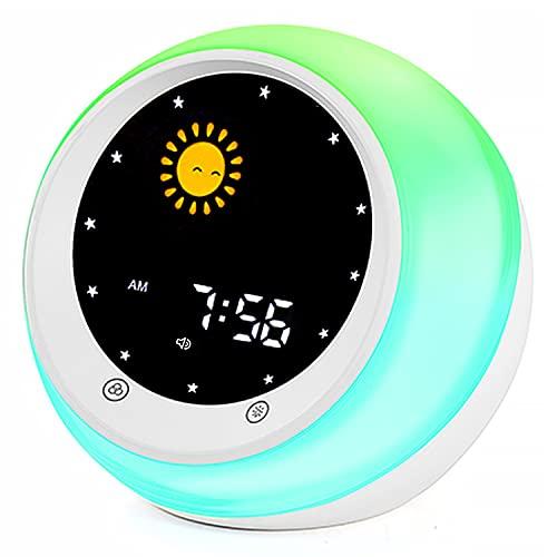 I.CODE Sun & Moon Rise Kids Alarm Clock, Children's Sleep Trainer ,Sleep Sound Machine, Wake Up Light & Night Light ,Teach Kids Day & Night