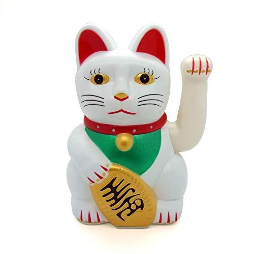 Starlet24 winkende Glückskatze Winkekatze Lucky Cat Maneki-Neko Katze Glücksbringer (Weiss, 15cm)