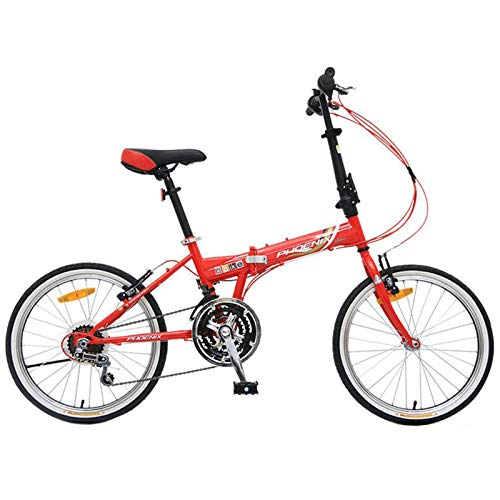 MYANG 20' Lightweight Alloy Folding City Bike Bicycle,Magnesium Frame,with Ajustable Seat (Red)