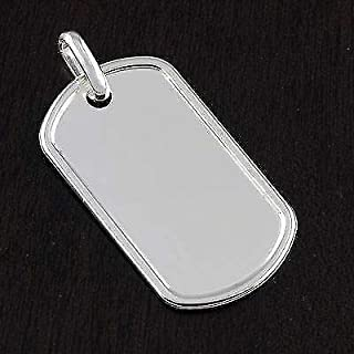 Genuine Solid 925 Sterling Silver ID Dog Tag Mens Engravable Pendant 1.5