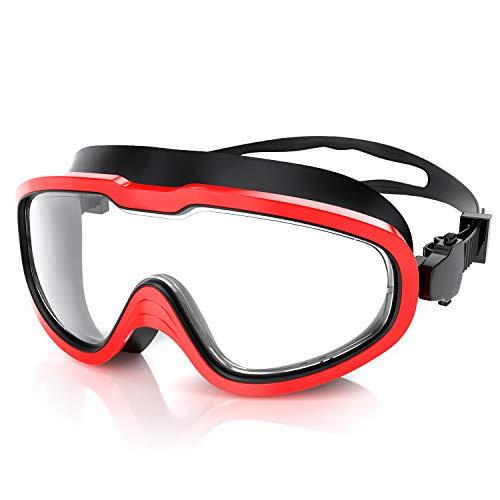 QcoQce Unisex Schwimmbrille,Schwimmbrillen Linse Verstellbar Gurt mit UV-Schutz und Anti Nebel,Taucherbrille für Erwachsen und Kinder Einschließen Ohrstöpsel und Nasenklammern