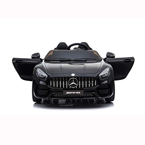 Sinoluck Kids Ride on Car 12V Mercedes Benz GT Kids Electric Car 2 Seater Dual Drive 35W2 Battery Motoriz   ed Cars for Kids with Remote Control, Built-in LED Lights, Bluetooth, Horn