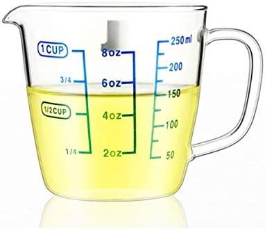 SMXGF Résistant à la chaleur Coupe, verre lait de mesure, en verre avec échelle, micro-ondes, résistant à la chaleur, 250ml Home Essentials (Size : 250ml)