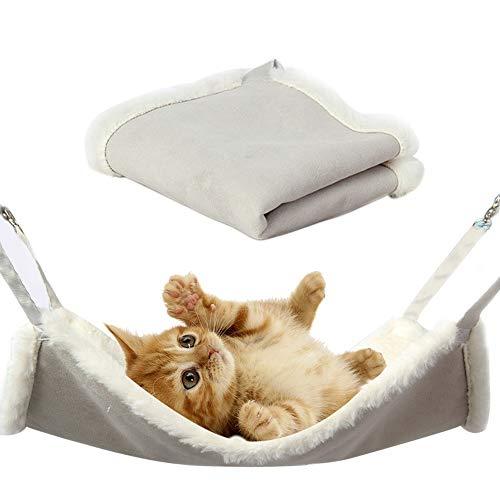 kraeoke Katzen Hängematte, Hängematte mit flauschigem und weichem Pelz für Katzen Kleintier (L)