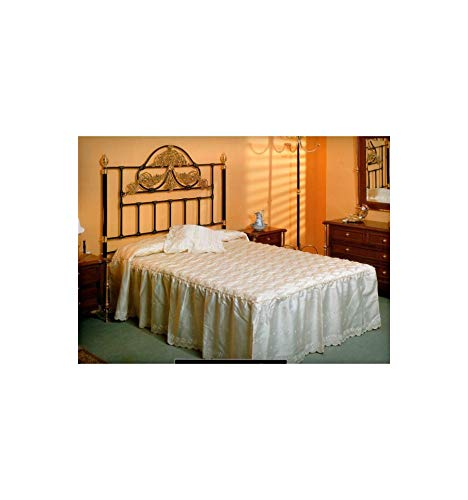 Cabecero de forja y latón Barroco - Blanco, Envejecido, Cabecero para colchón de 90 cm