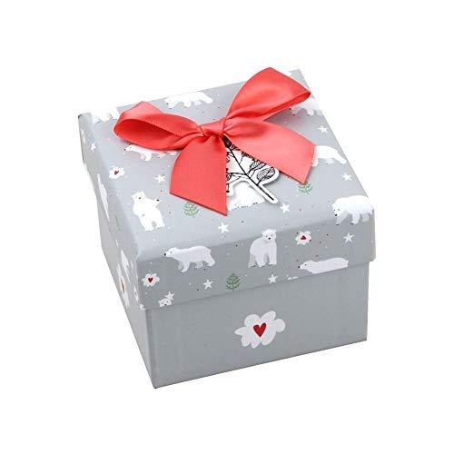 Honton Caja de regalo con tapa, anillos de exhibición de joyas de papel, relojes pequeños, collares, pendientes, caja de regalo de 10,5 x 10,5 x 8,5 cm, color gris