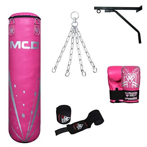 MCD Sports Ungefüllt Boxsack Erwachsene Set Hängend Boxing Bag 122cm mit Rosa Muay Thai Handschuhen, Handwickel Ideal für MMA, Kampfsport, Kickboxen Punching bag mit Wandhalterung
