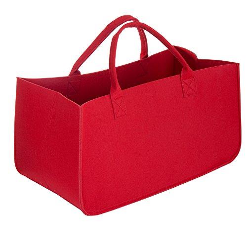 WolinTek Feuerholztasche,Filztaschen für Kaminholz Einkaufstasche Filzkorb Holzkorb, Vielseitig Verwendbare Filztasche mit Griff für n Feuerholz, Zeitschriften oder Spielzeug (Rot)