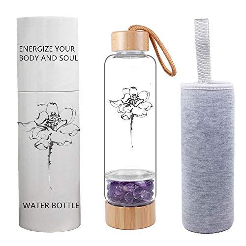 AITELEI Bambus Wellness Kristall Elixier infundiert Edelstein Wasserflasche, Naturedelstein Kristall Wasserflasche Quarz Kies Edelstein Heilglas, Energie Elixier Wasserflasche 400ML