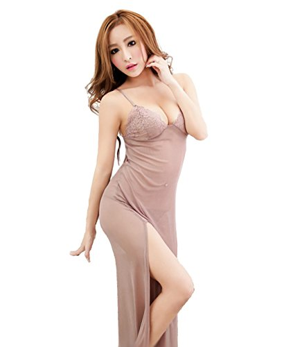 Firefly Secret Romantic Sexy Lingerie Long Babydoll Night Dress Chemise Negligee Nighgown Matching G-String Sheer Petites (S, Dusk Rose)