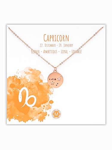 MURANDUM Sternzeichen Halskette | Zodiac Sign Star Constellation Necklace | Damen Kette mit Sternbild Anhänger (Roségold, Steinbock/Capricorn)