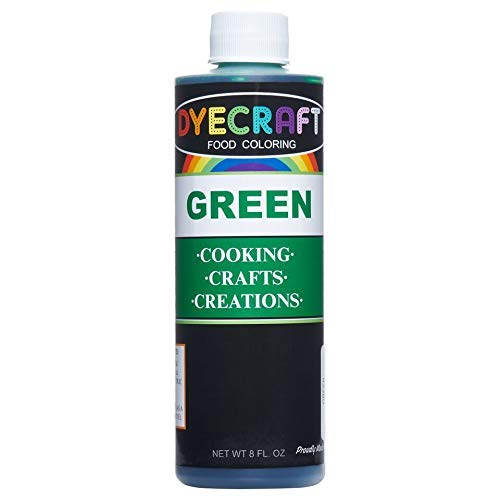 DyeCraft Green Food Coloring (LARGE 8 oz Bottle) Odorless, Tasteless, Edible - Perfect for Baking, Cooking, Arts & Crafts, Decorations and More