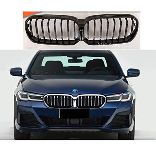 ZHANGJN Rejilla De Parachoques Delantero Abs Parrilla Delantera para BMW G30 G38 Lci 5 Series 2021 525I 530I 540I Negro Brillante
