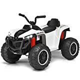 Costzon Kids Ride On ATV, 4 Wheels ATV Quad with Spring Suspension, Electric Toy, Kids Ride On Car with Headlights, Music and Story, 12V Battery Powered, Adjustable Volume (White)