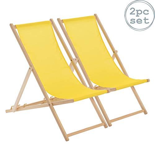Harbour Housewares Tumbona reclinable y Plegable - Ideal para Playa - Estilo Tradicional - Madera - Amarillo - Pack de 2