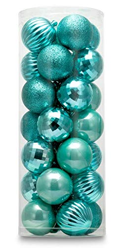 AUXO-FUN 1.57' 28ct shatterproof Christmas Ball Ornaments in 4 Classic finishes for Christmas Tree Decoration (Turquoise Blue)